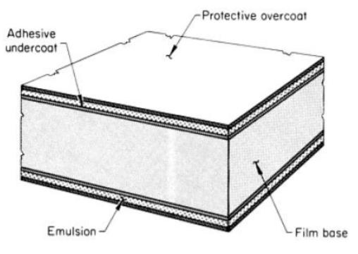 ภาพที่ 2 ภาพตัดขวางของฟิล์มที่ใช้ในการทดสอบด้วยรังสี